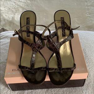 Dark Brown Croc print heeled sandal, size 10